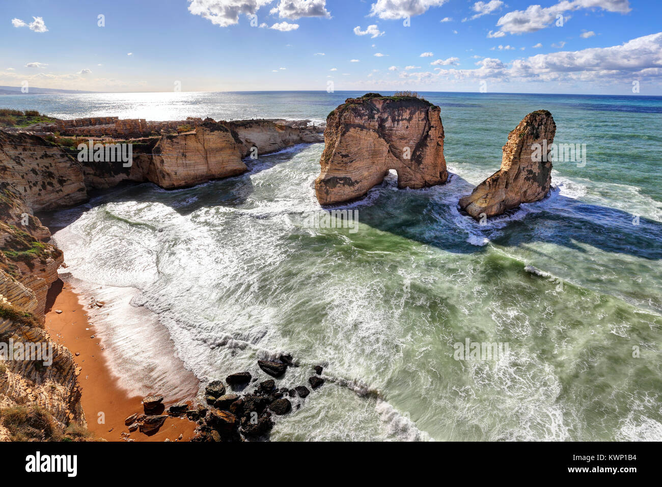 Pigeon Rocks and Dalieh, Beirut - Lebanon - Stock Image