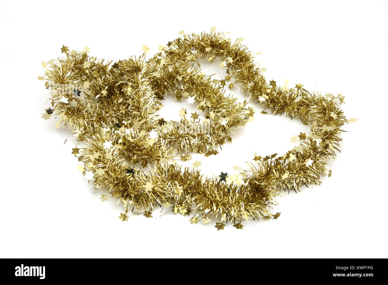 Christmas Decoration Gold Tinsel With Stars - Stock Image