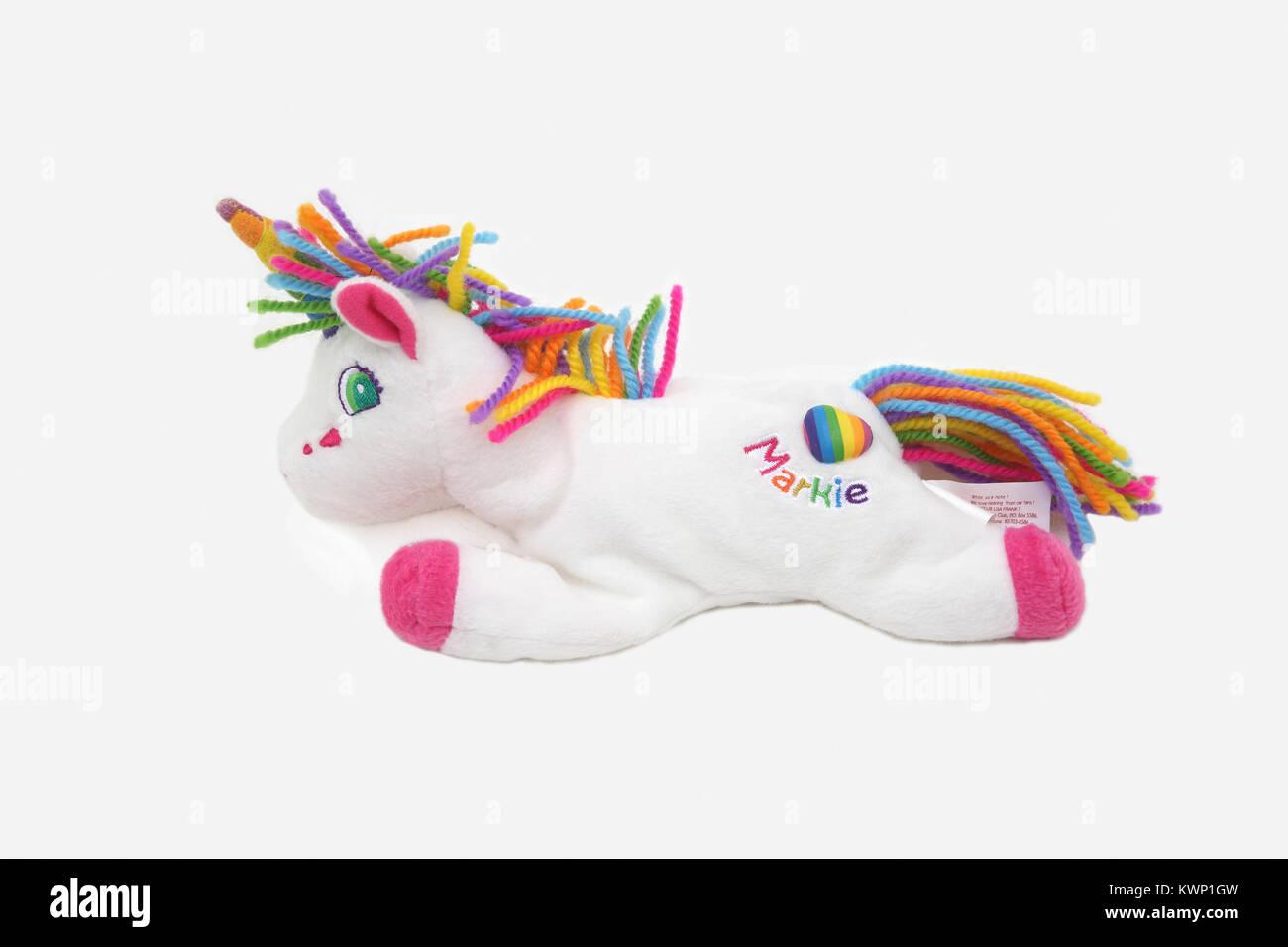 Lisa Frank Markie The Unicorn Bean Bag Plush Toy Stock Photo