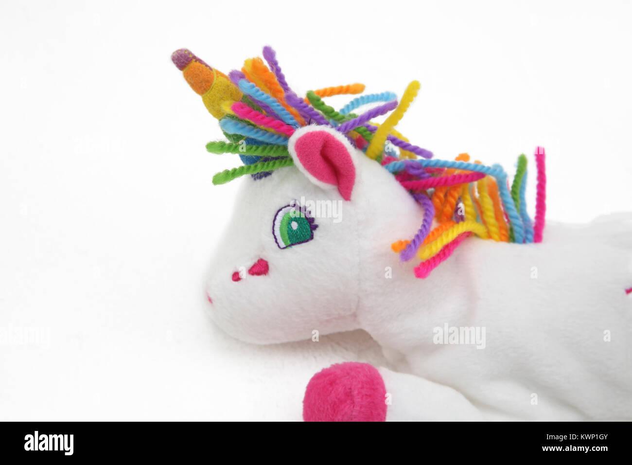 Lisa Frank Markie The Unicorn Bean Bag Plush Toy - Stock Image