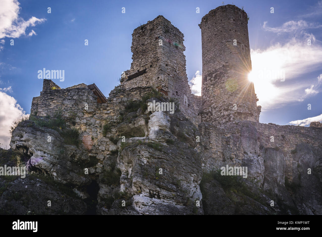 Ruins of Ogrodzieniec Castle in Podzamcze village, part of the Eagles Nests castle system in Silesian Voivodeship Stock Photo