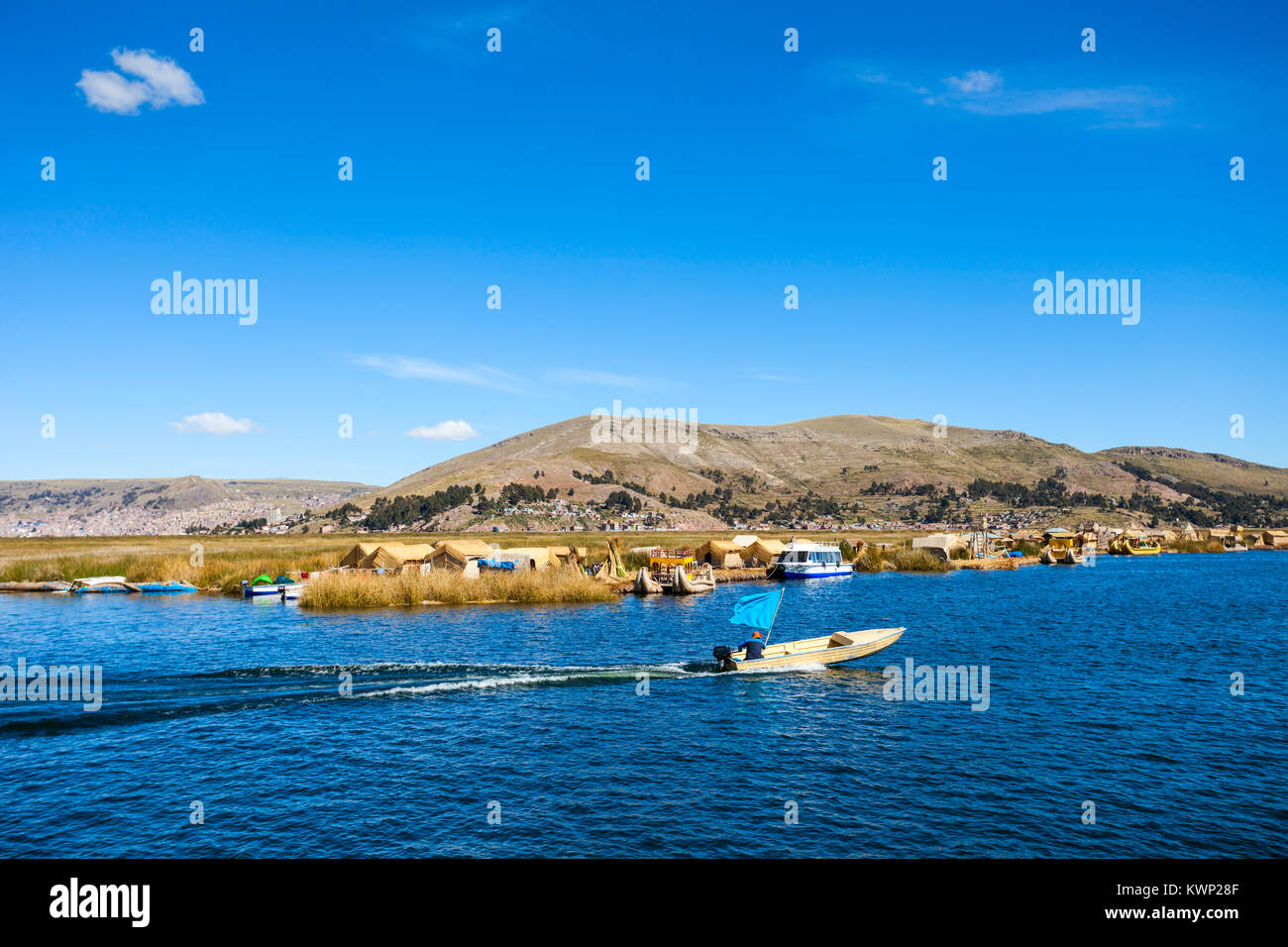 Titicaca is a large, deep lake in the Andes on the border of Peru and Bolivia - Stock Image