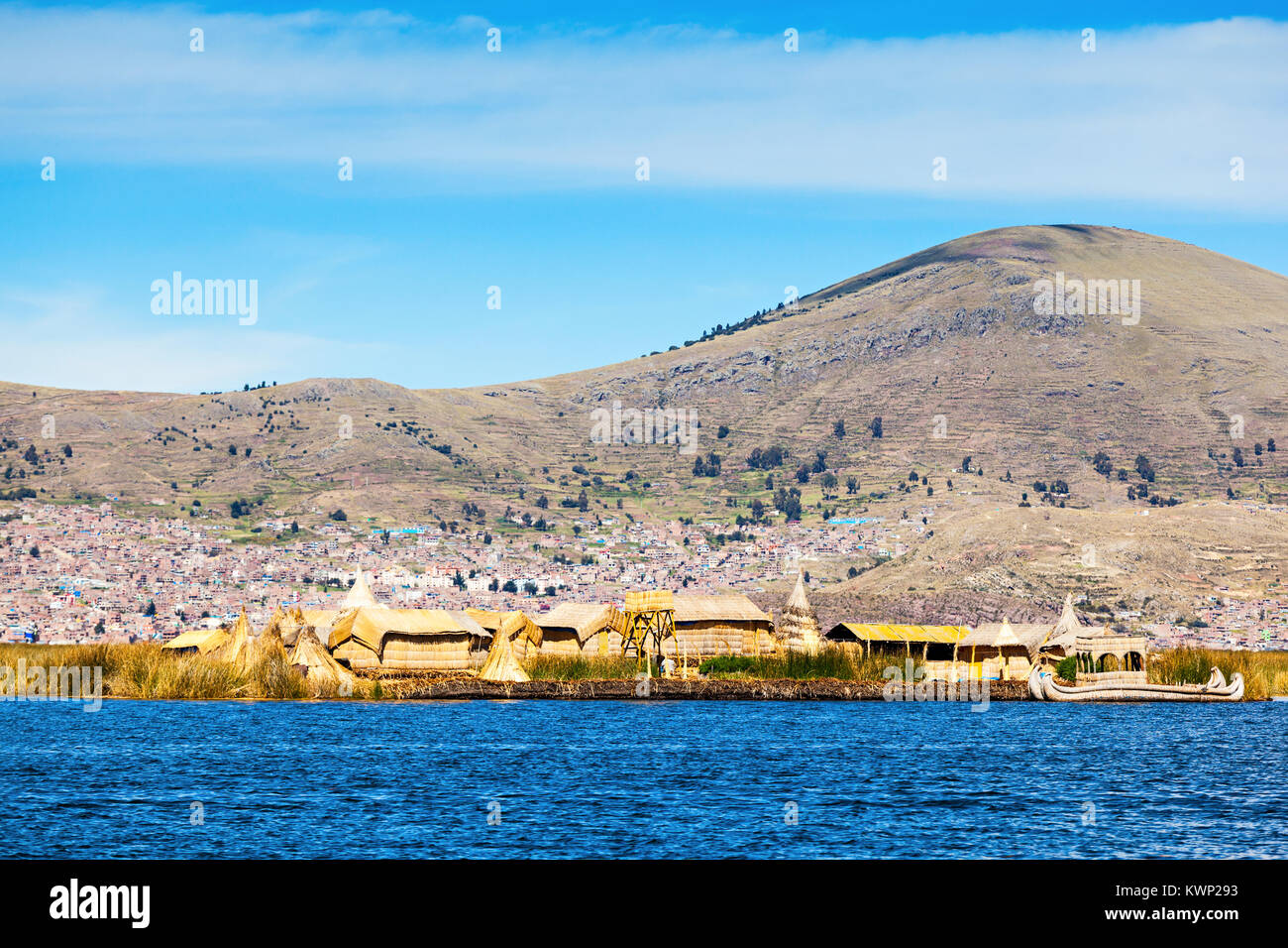 Uros floating island near Puno city, Peru - Stock Image