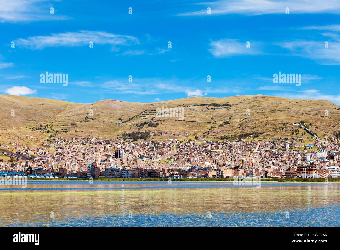 Puno panoramic view from Titicaca lake, Peru - Stock Image