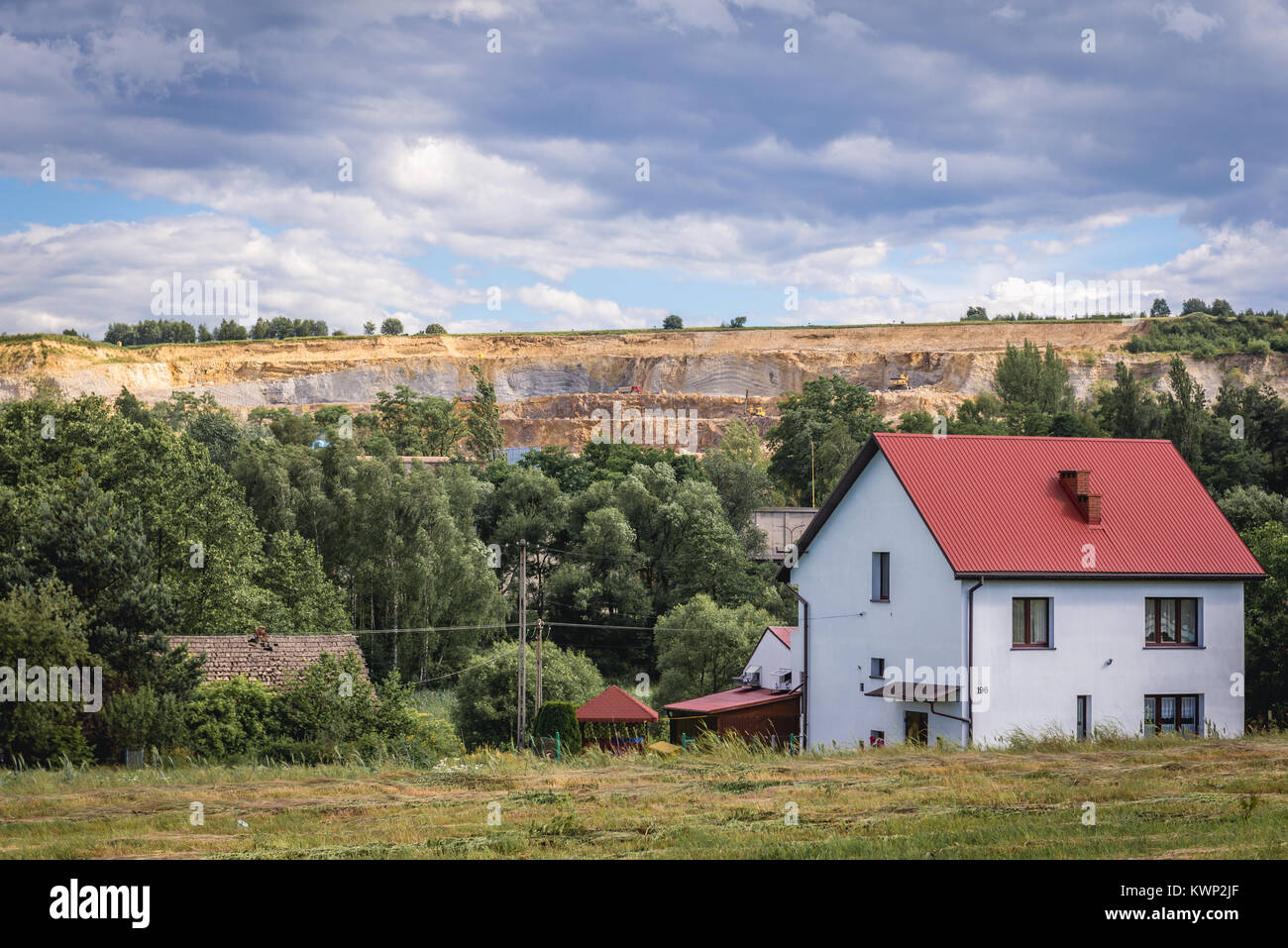 Porphyry mine in Zalas village in Lesser Poland Voivodeship of Poland - Stock Image
