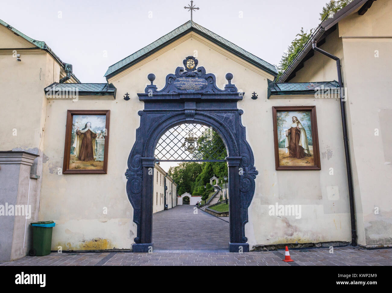 Main entrance of Monastery of Discalced Carmelites in Czerna village in Lesser Poland Voivodeship of Poland - Stock Image