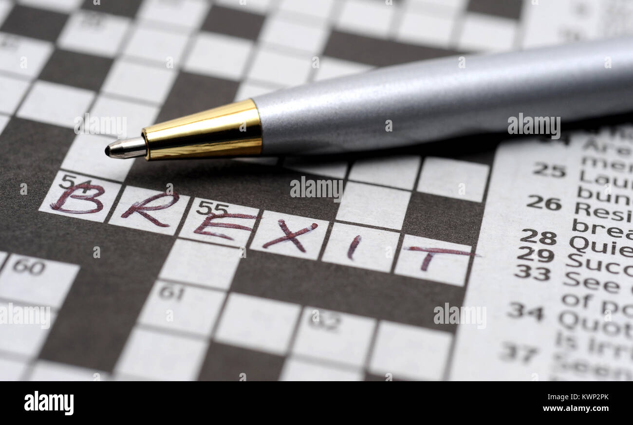 CROSSWORD PUZZLE AND PEN WITH BREXIT WORD RE EUROPEAN UNION THE EU LEAVE UK - Stock Image