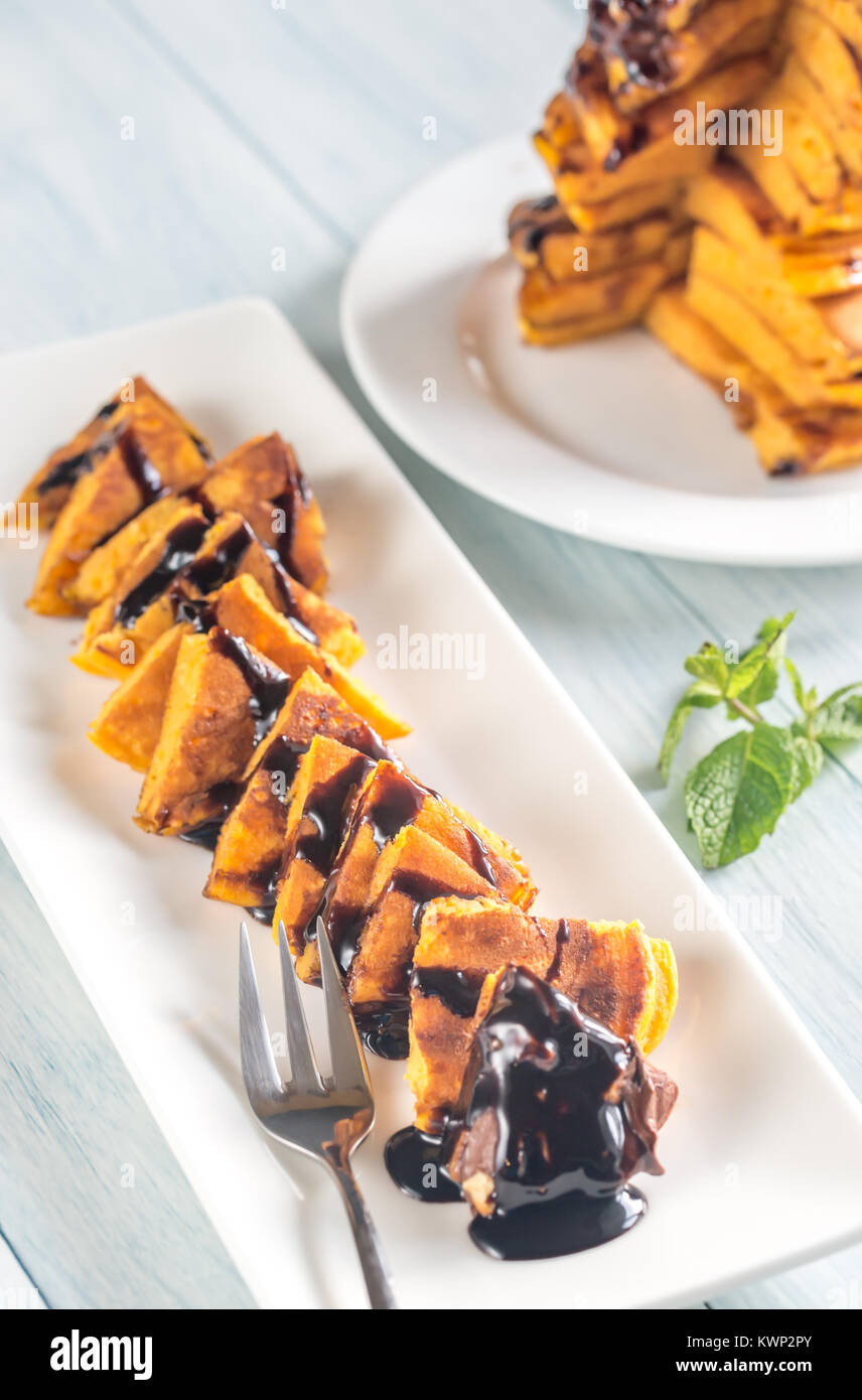 Pumpkin pancakes with chocolate topping Stock Photo