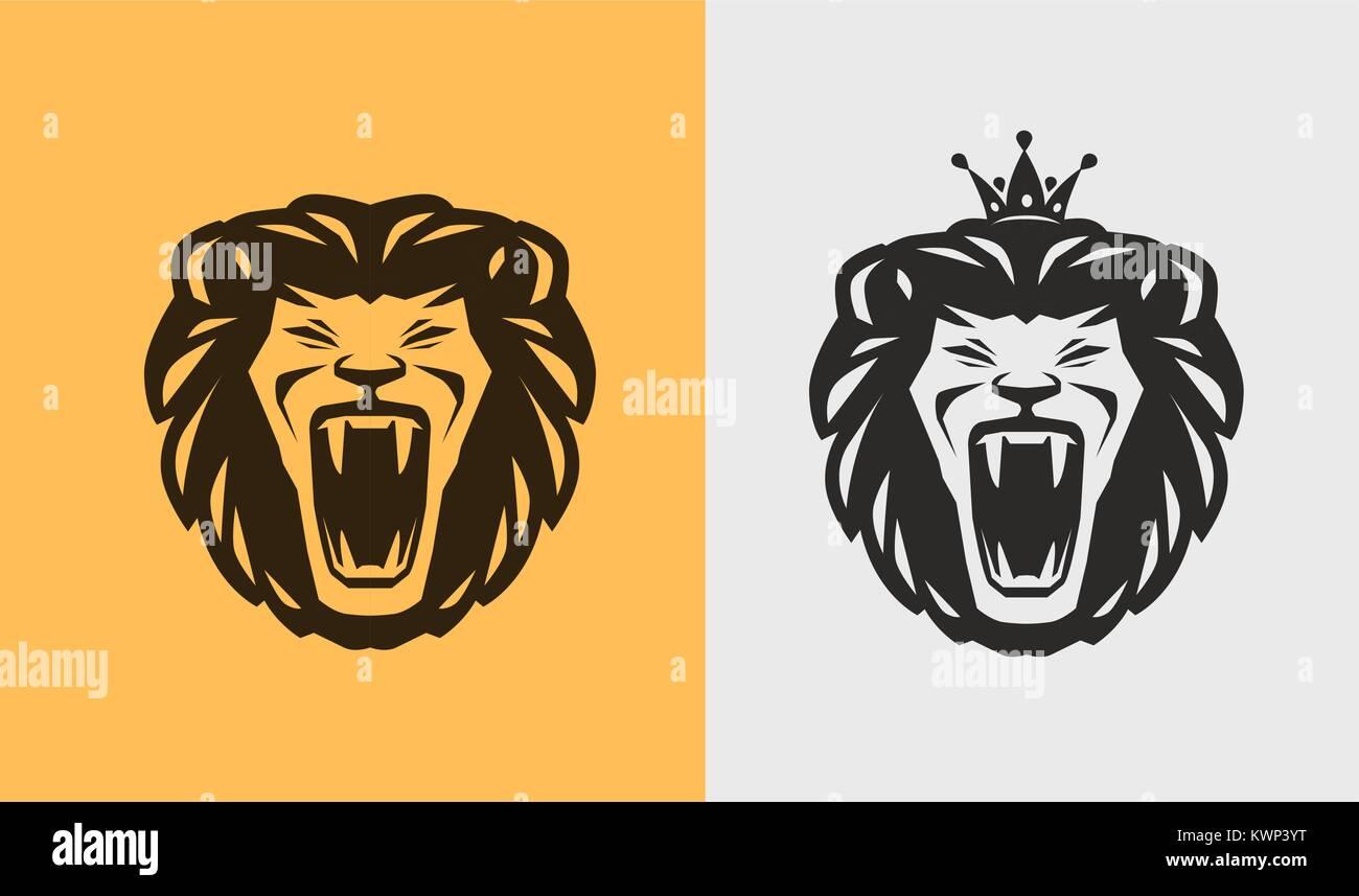 Lion roaring logo or label. Animal, wildlife icon. Vector illustration - Stock Vector