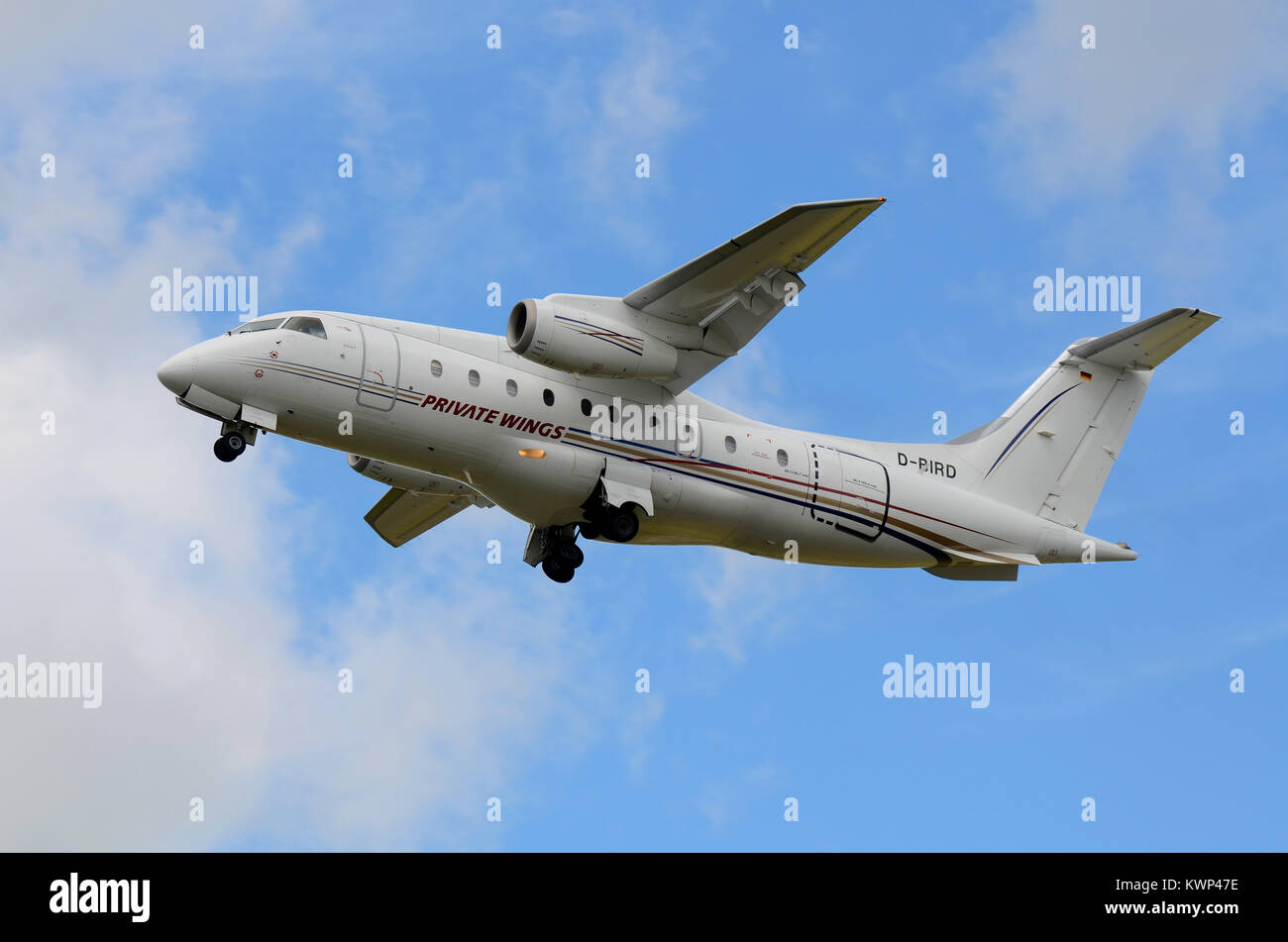 Private Wings Fairchild Dornier 328JET. 328JET is a commuter airliner based upon the turboprop-powered Dornier 328. - Stock Image