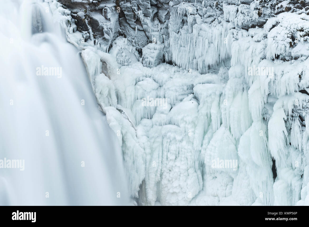 Detail of frozen Gullfoss Waterfalls, Mid-November, Iceland, by Dominique Braud/Dembinsky Photo Assoc - Stock Image