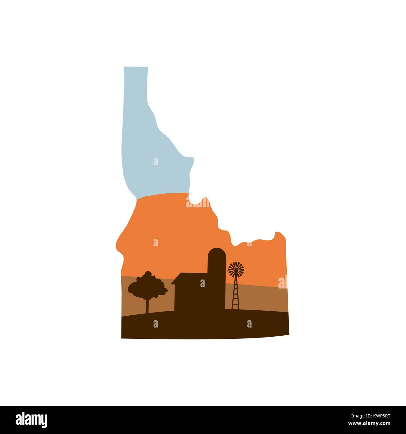 Idaho State Shape w Farm at Sunset with Windmill, Barn, and a Tree - Stock Vector