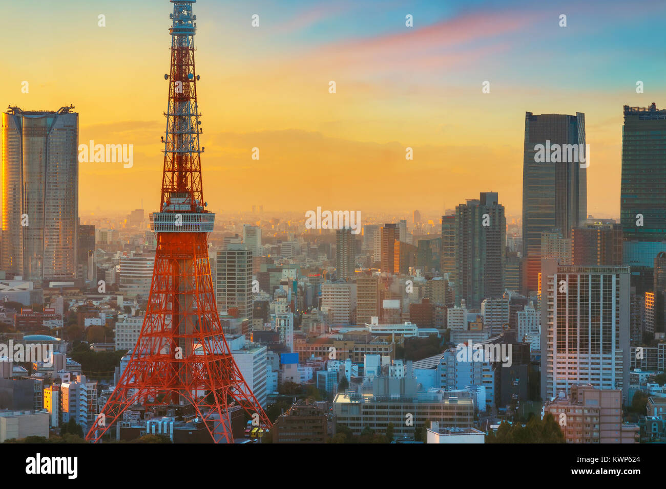 Tokyo Tower in Twilight  TOKYO, JAPAN - NOVEMBER 28, 2015: Tokyo Tower built in 1958, it was the main source of Stock Photo