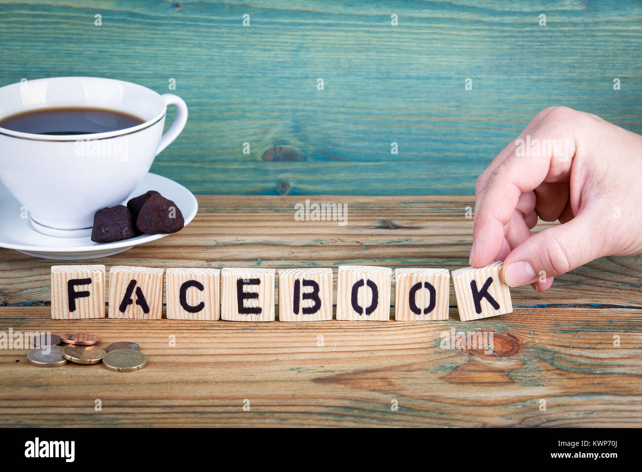 facebook. Wooden letters on the office desk, informative and communication background - Stock Image