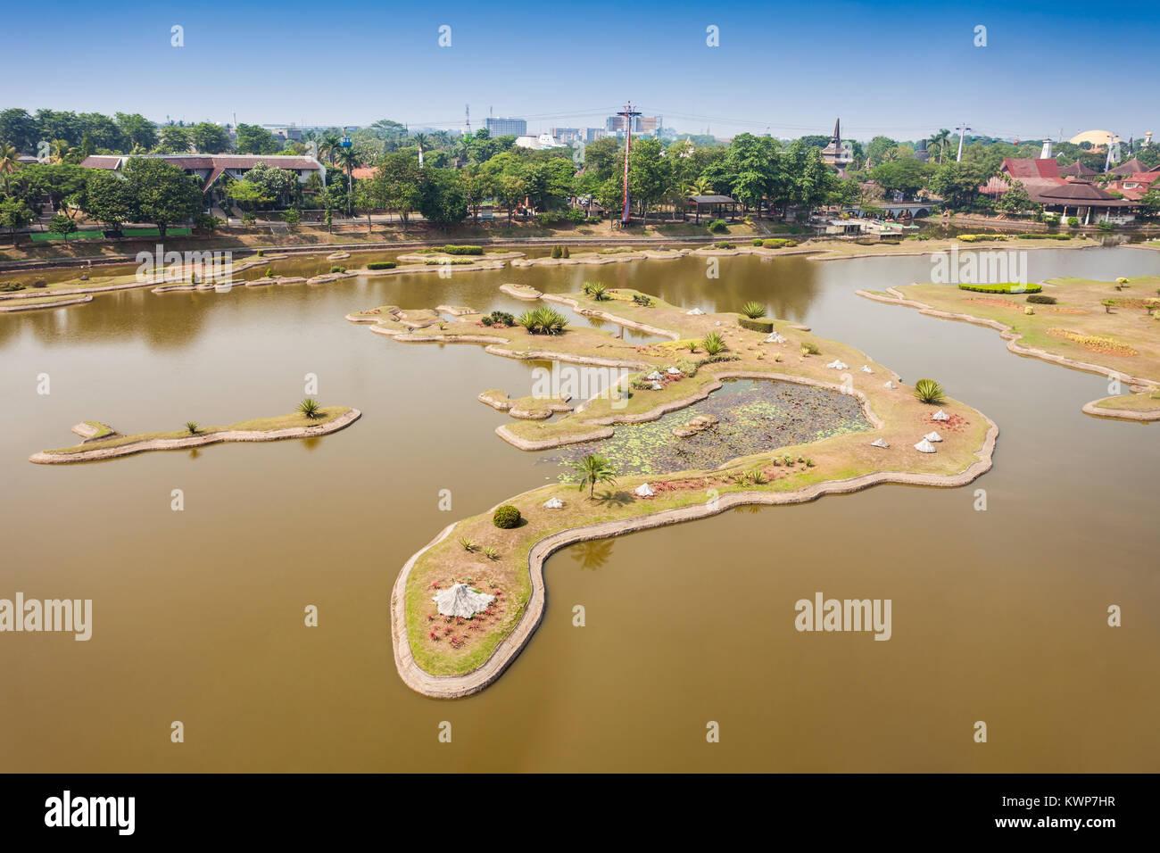 The miniature of Indonesian Archipelago in the Taman Mini Indonesia Park. - Stock Image
