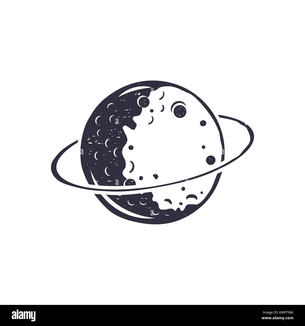 Vintage hand drawn moon symbol  Silhouette monochrome moon