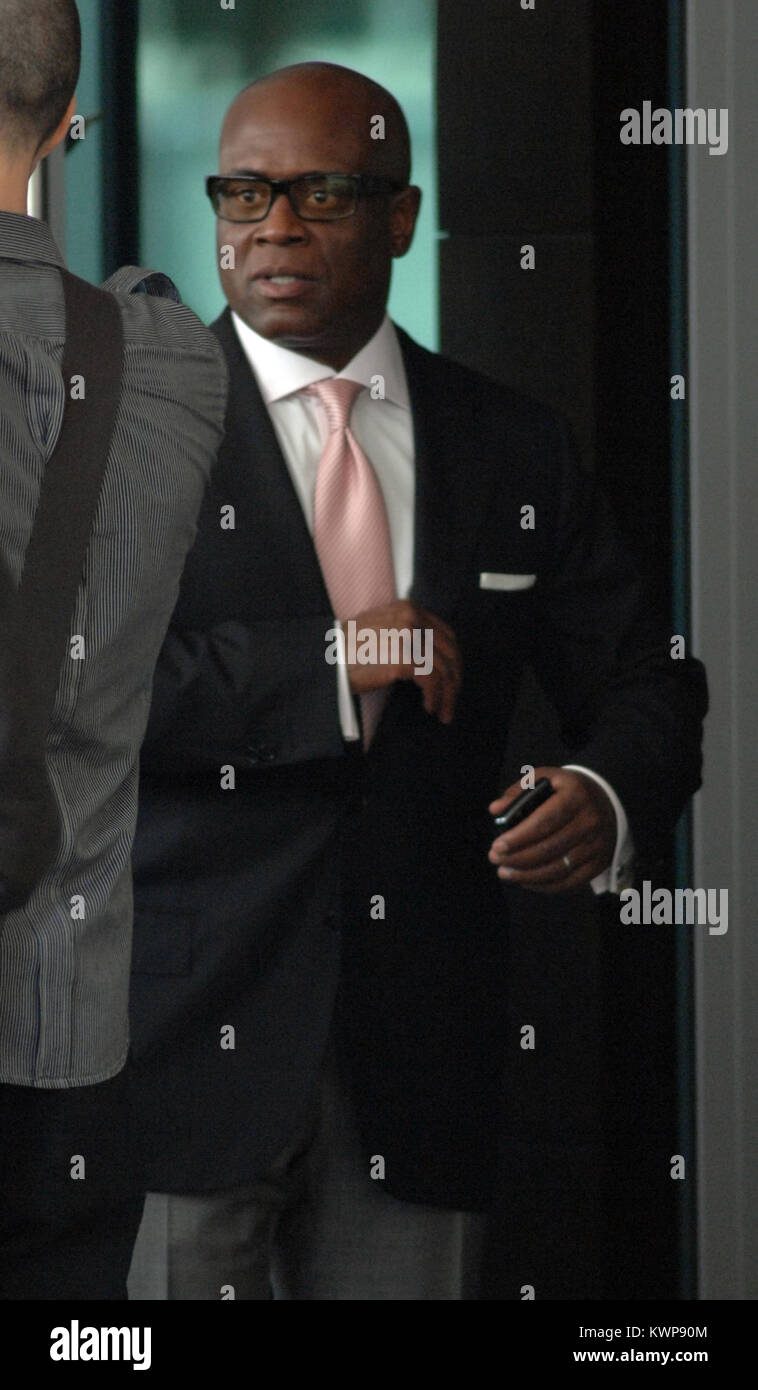 MIAMI BEACH, FL - JUNE 15:   L.A. Reid is seen leaving their Miami hotel to go film day 2 of try outs in Miami for - Stock Image