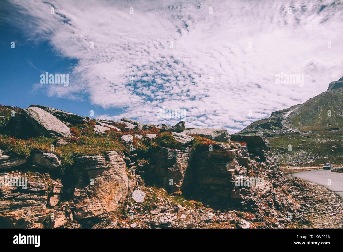 beautiful rocky scenic landscape in indian himalayas, keylong region - Stock Image