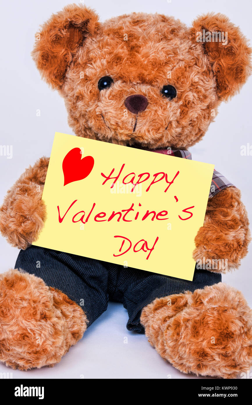 A Cute Teddy Bear Holding A Yellow Sign That Says Happy Valentine S