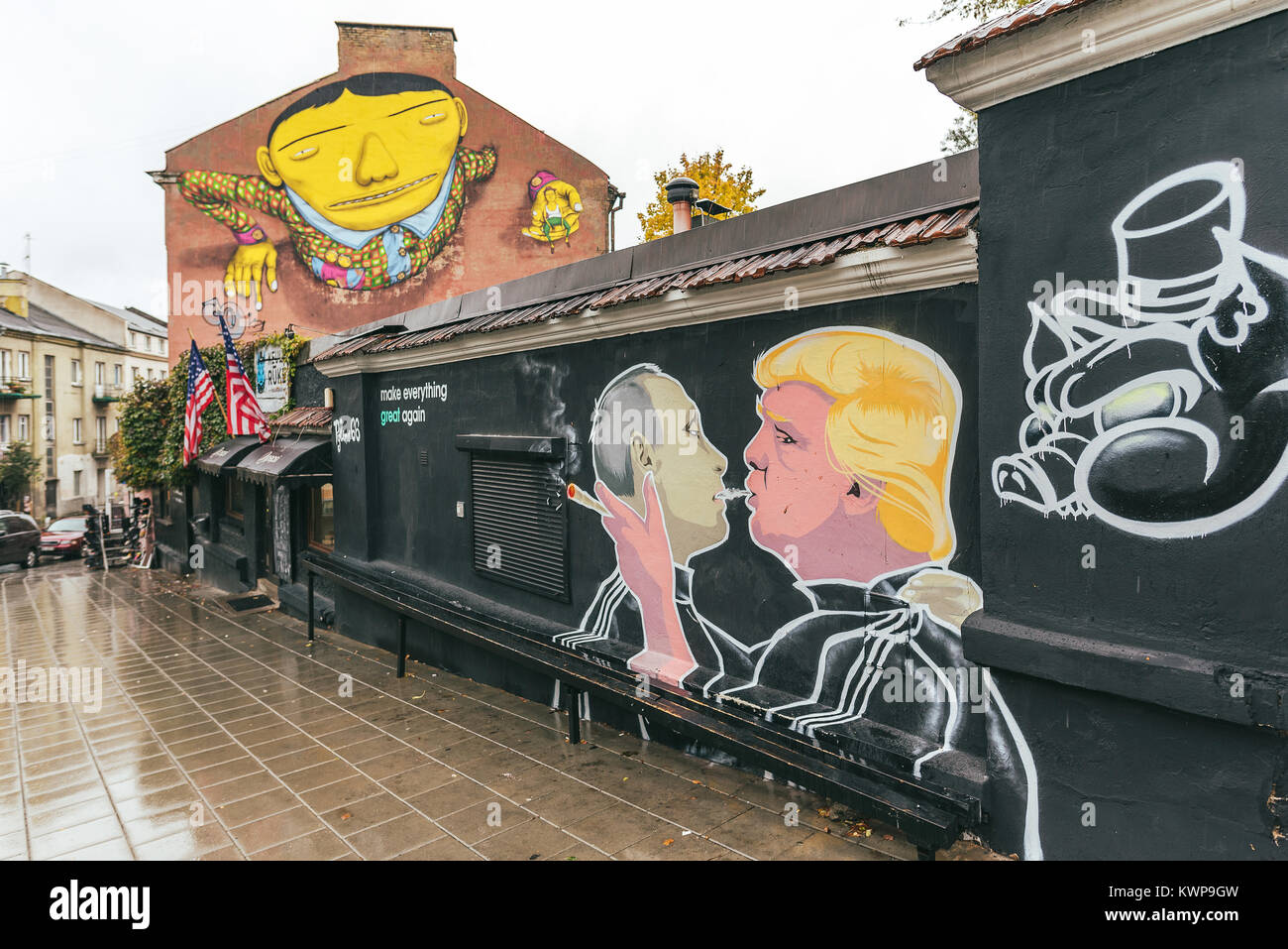 Vilnius, Lithuania - October 10, 2017: Donald Trump kissing Vladimir Putin mural, street art, Vilnius, Lithuania - Stock Image