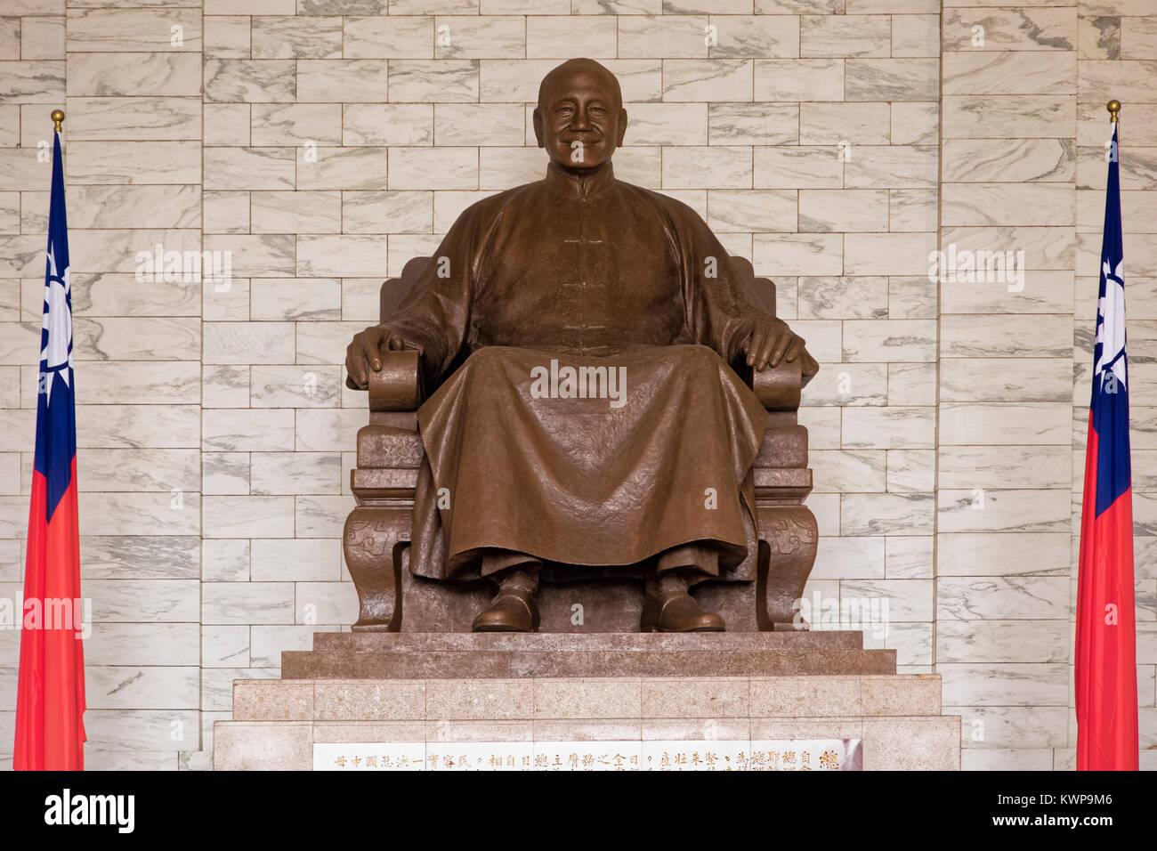 Statue of Chiang Kai-shek inside of the National Chiang Kai-shek Memorial Hall located in Taipei, Taiwan, He was - Stock Image