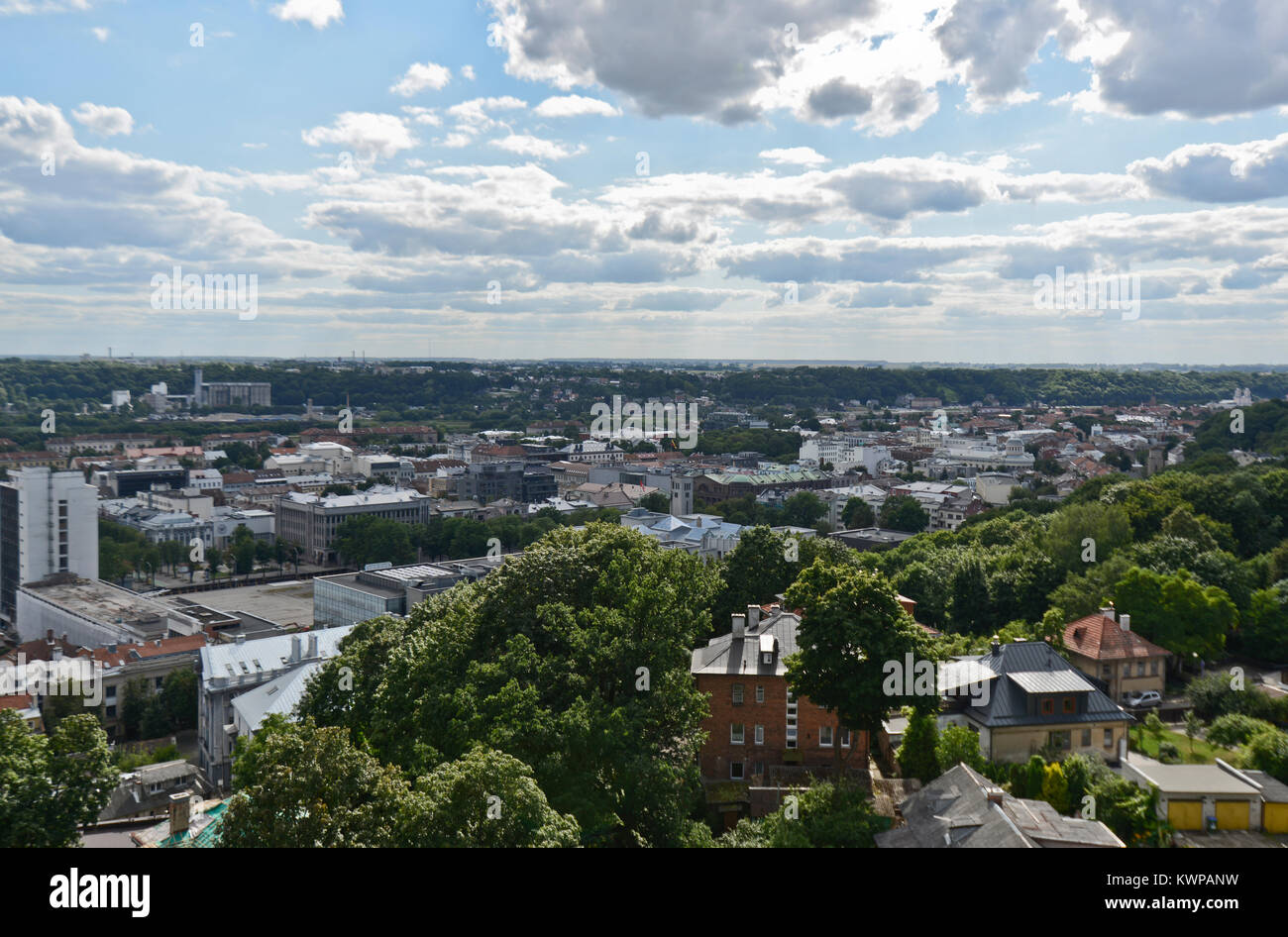 Panoramic view of Kaunas, Lithuania - Stock Image