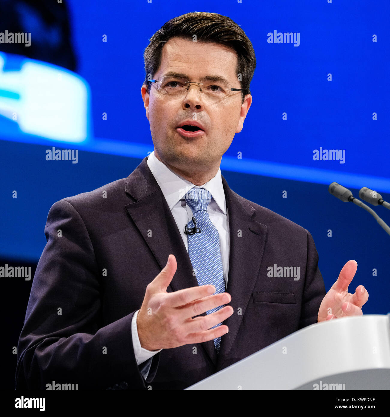 James Brokenshire addresses the Conservative Party Conference at Manchester Central, Manchester, UK - Sunday October Stock Photo