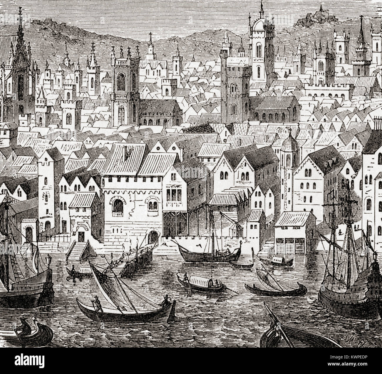 The Steelyard, depot of the Hanseatic merchants, London, England in the 15th century.  The Hanseatic League aka - Stock Image