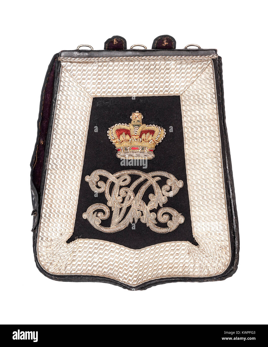 Derbyshire Yeomanry officer's full dress embroidered blue cloth sabretache from the Victorian era. - Stock Image