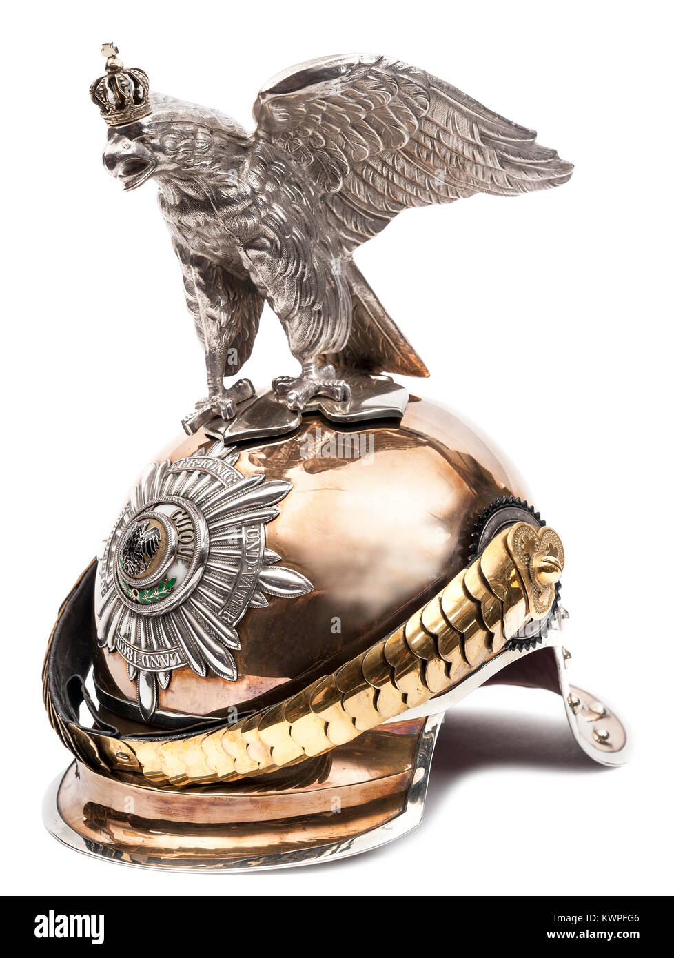 Officer's Prussian M1899 helmet of the Garde du Corps or Garde Kurassiere Regiment - Stock Image
