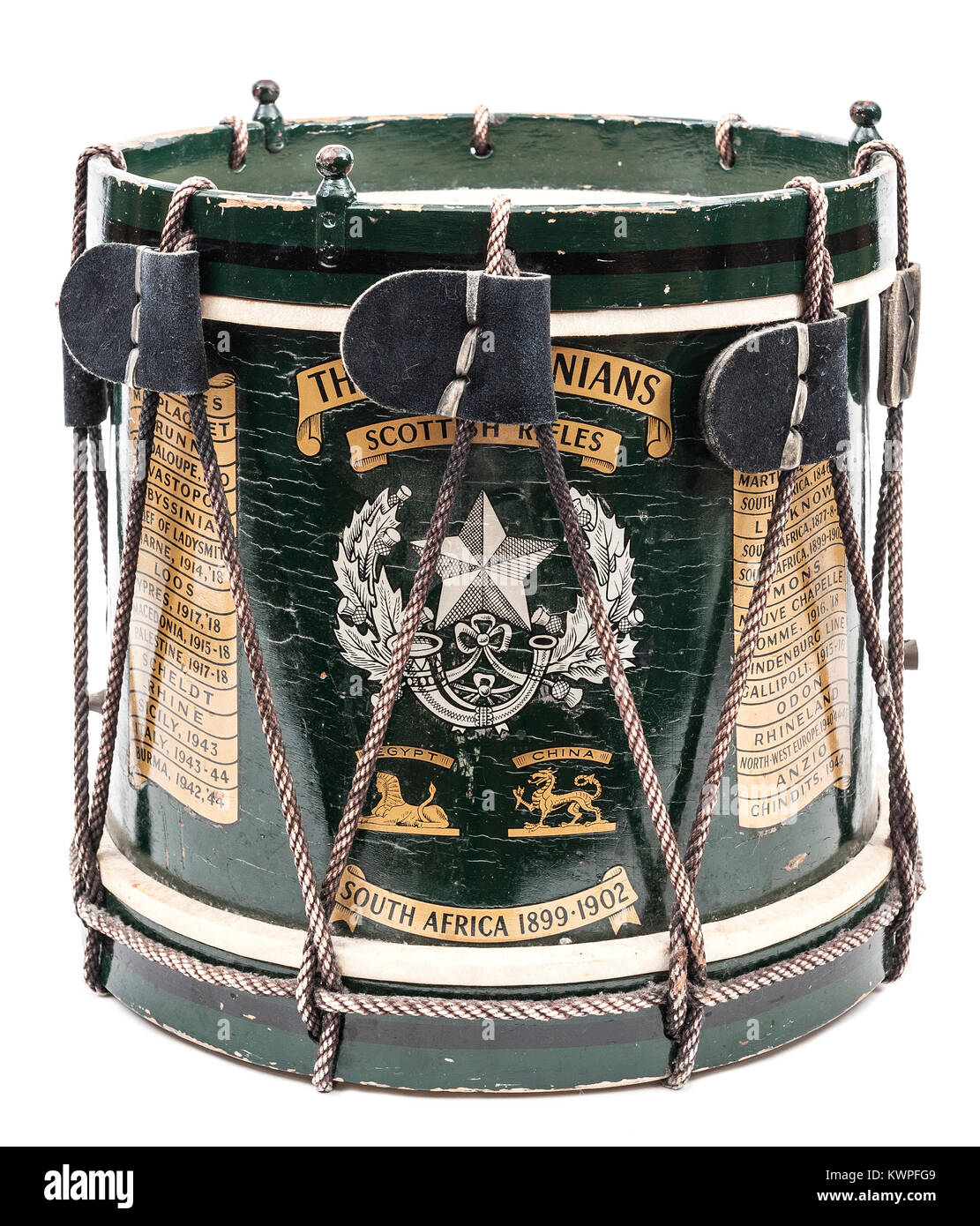 Side drum of The Cameronians (Scottish Rifles) Regiment - Stock Image