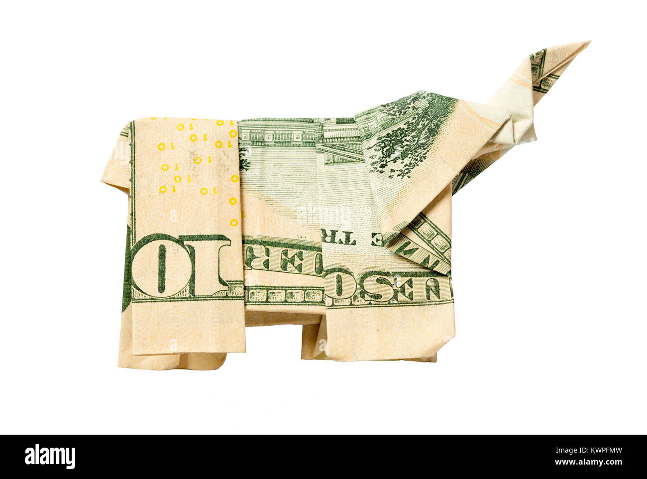 Money Origami ELEPHANT Real One Dollar Bill White Background Stock ... | 962x1300