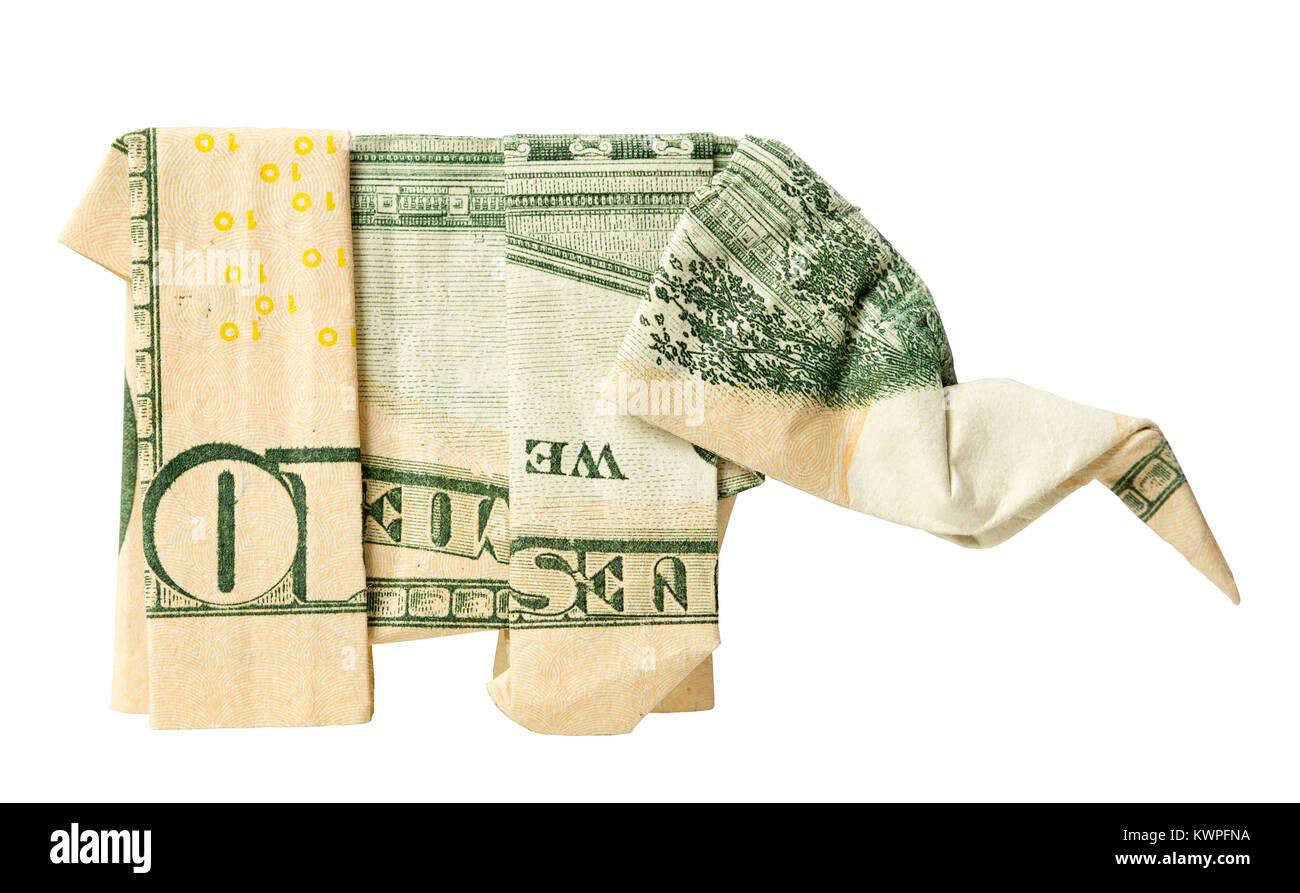 Dollar Origami Elephant - YouTube | 893x1300