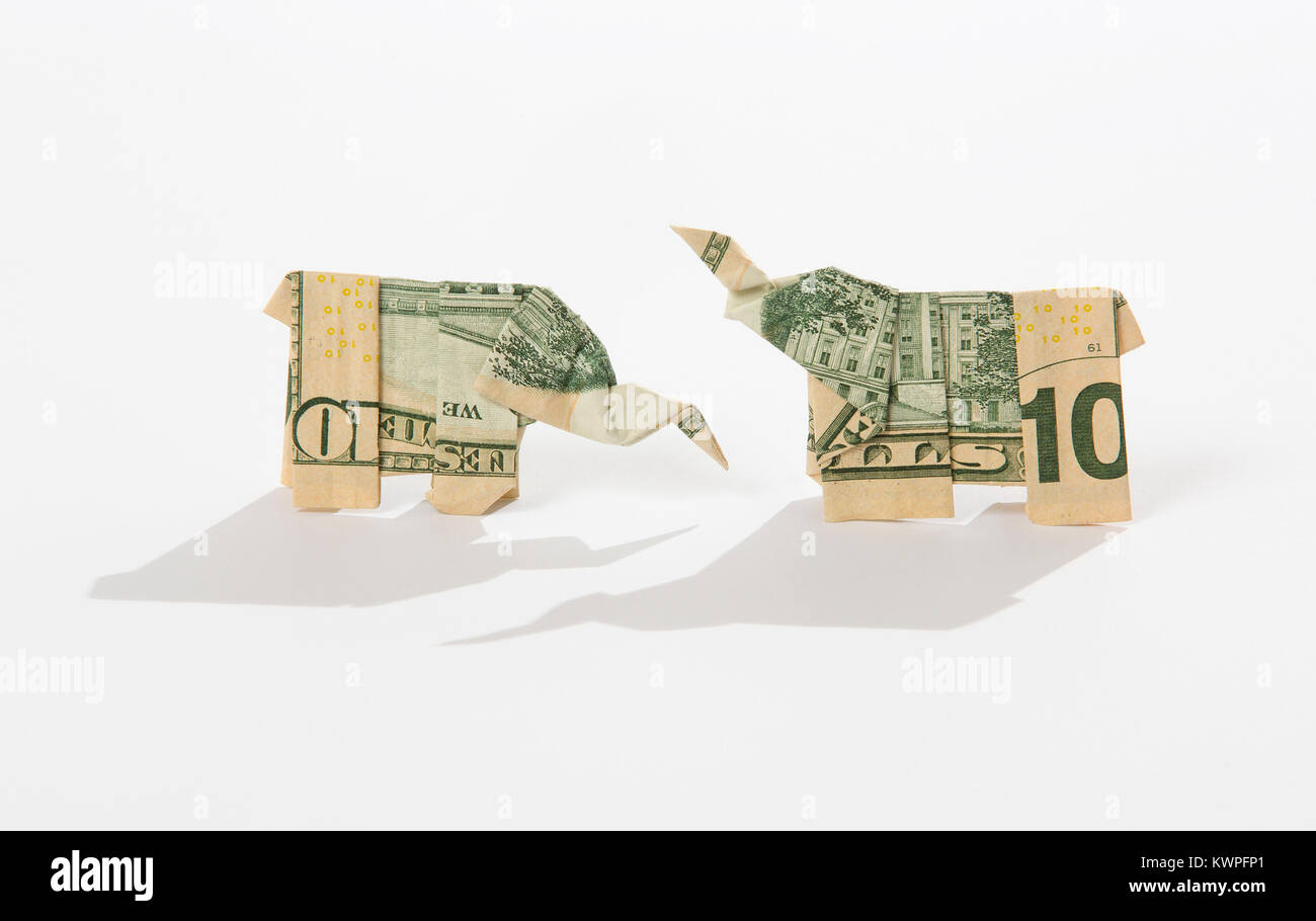 Money 1$ Dollar Bill Origami ELEPHANT 3D Statue Lucky C | 910x1300