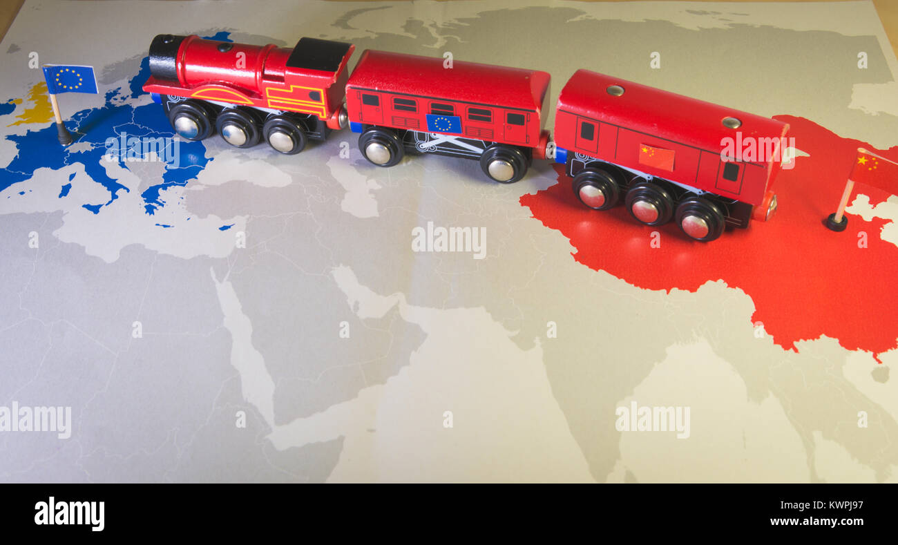 Toy train connecting Europa and China. Yidaiyilu project - Stock Image