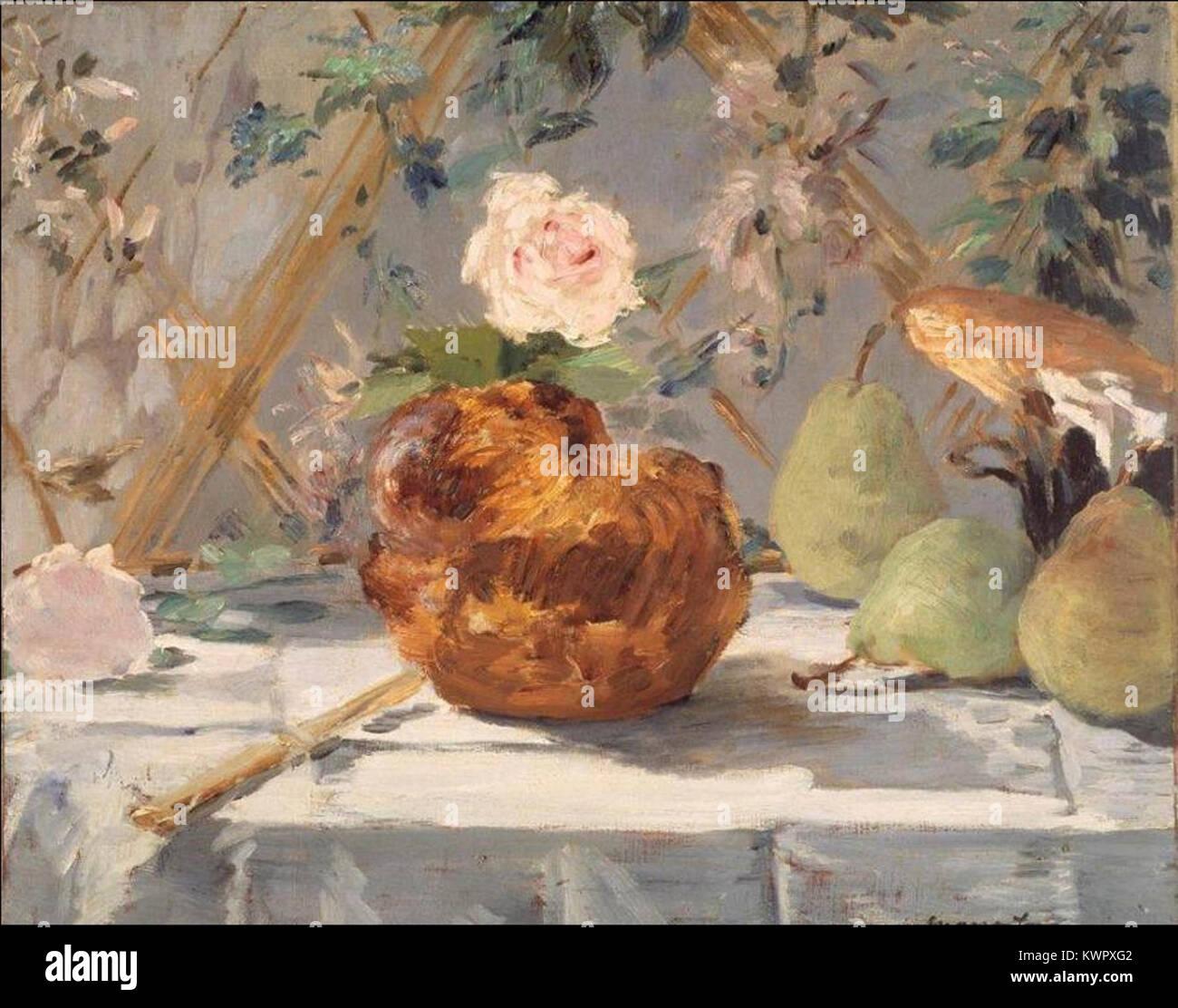 Édouard Manet - Nature morte, brioche, fleurs, poires (RW 251) - Stock Image