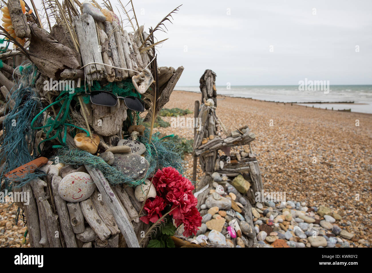 Cooden, UK. 3rd September, 2017. An artwork made from salvaged objects on the beach at Cooden, East Sussex. Stock Photo