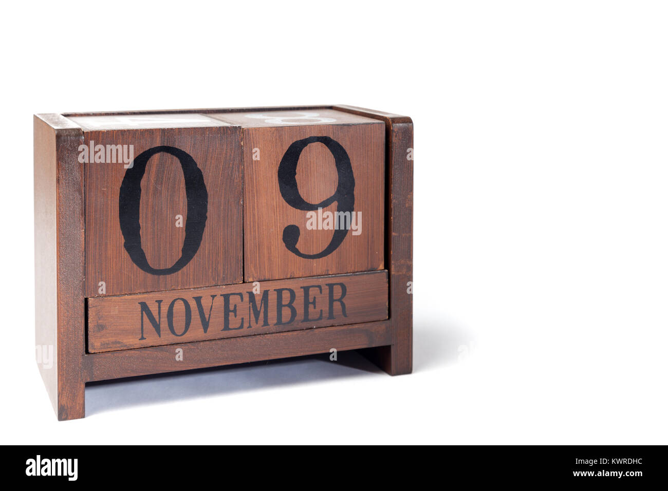 Wooden Perpetual Calendar set to November 9th - Stock Image