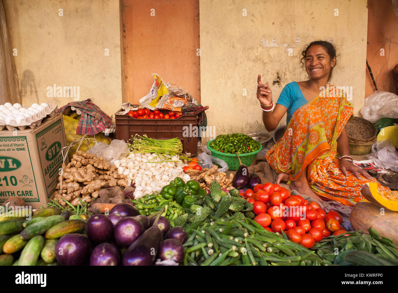 Vegetable seller at the market in the Garia district of Kolkata, India - Stock Image