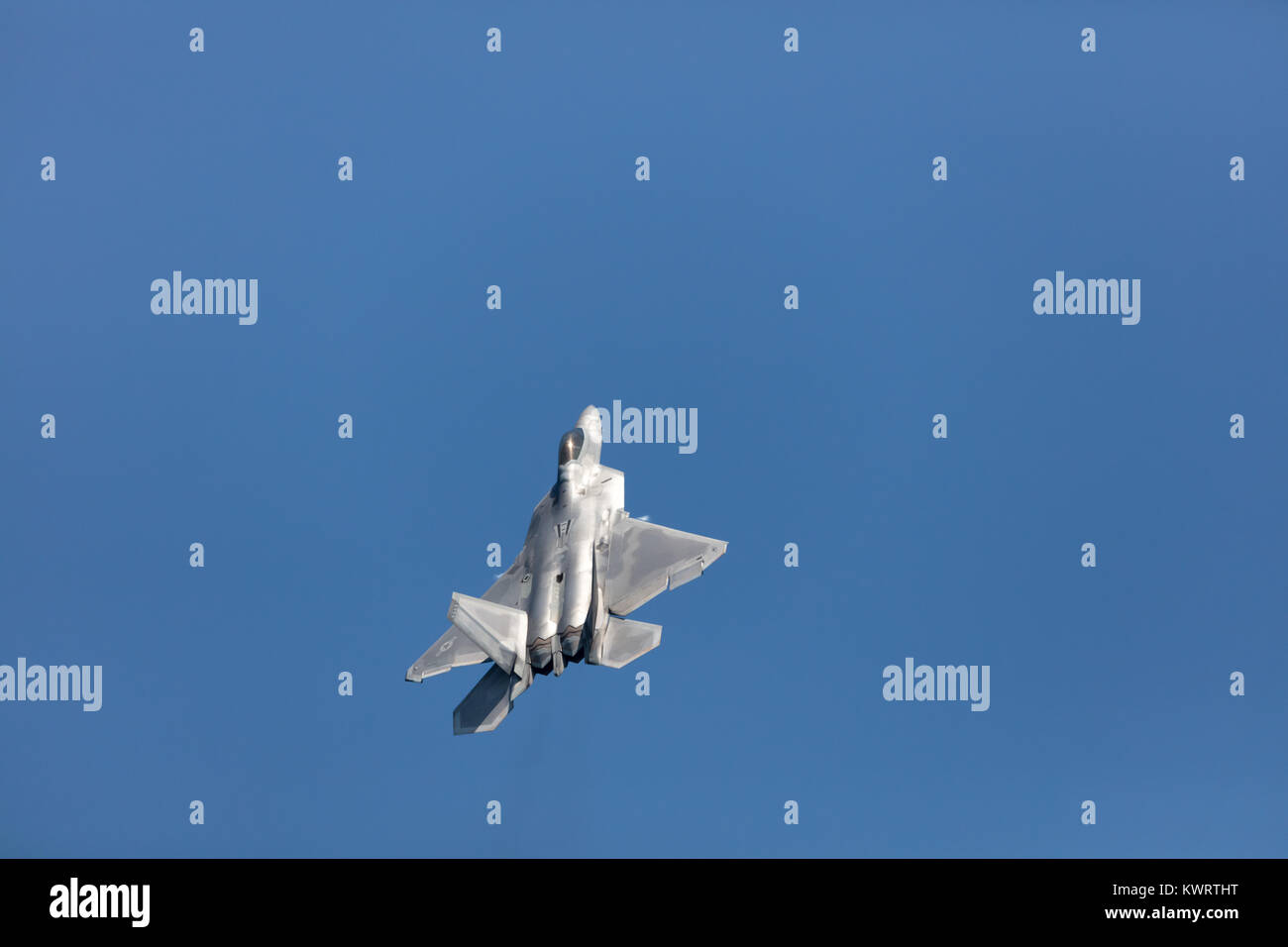 USA, Chicago - August 19: A U.S. Air Force F-35 Joint Strike Fighter (Lightning II) jet flying. This F-35 is assigned - Stock Image