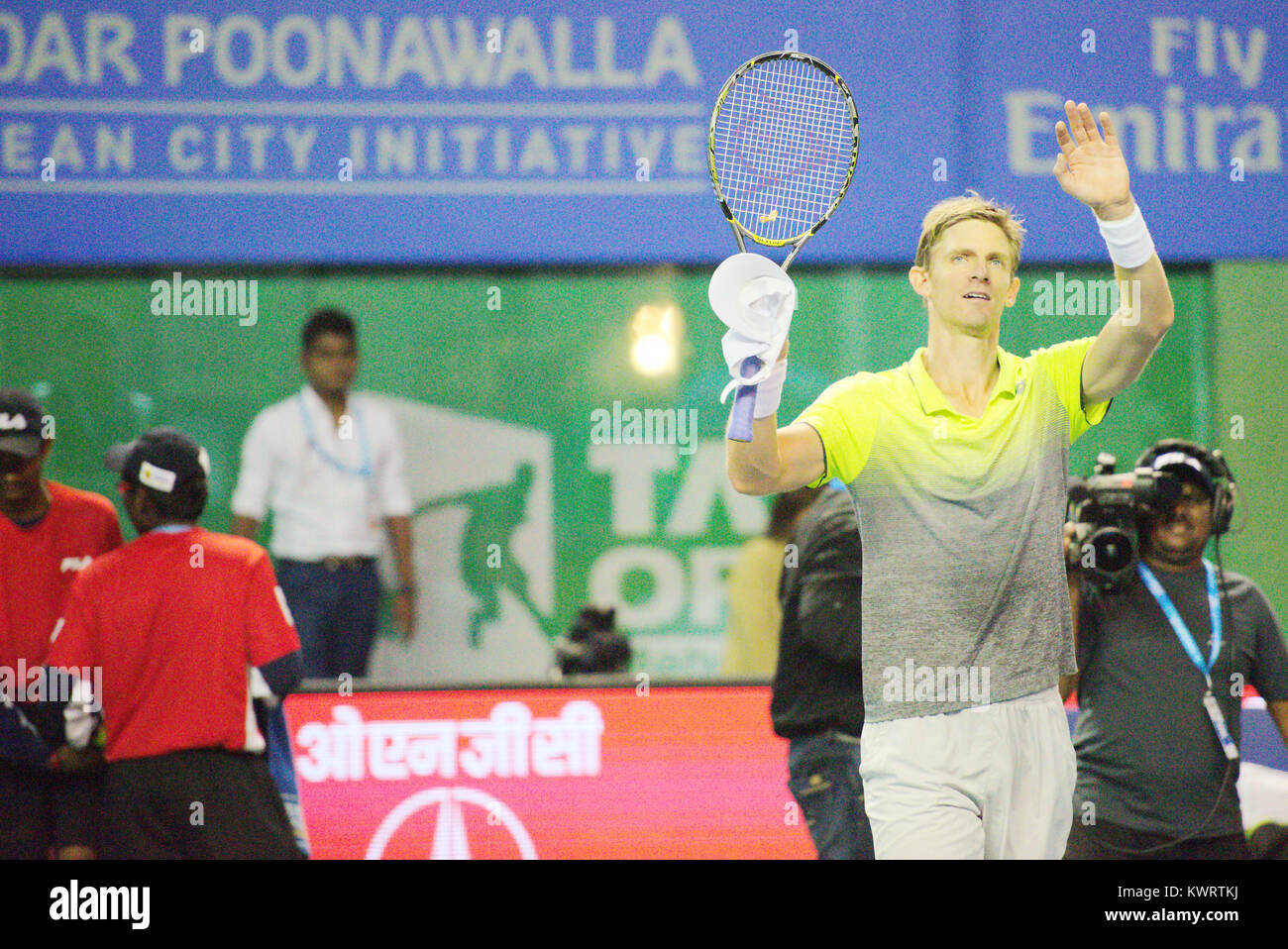 Pune, India. 4th January 2018. Kevin Anderson of South Africa gestures after winning his quarter final match of Stock Photo