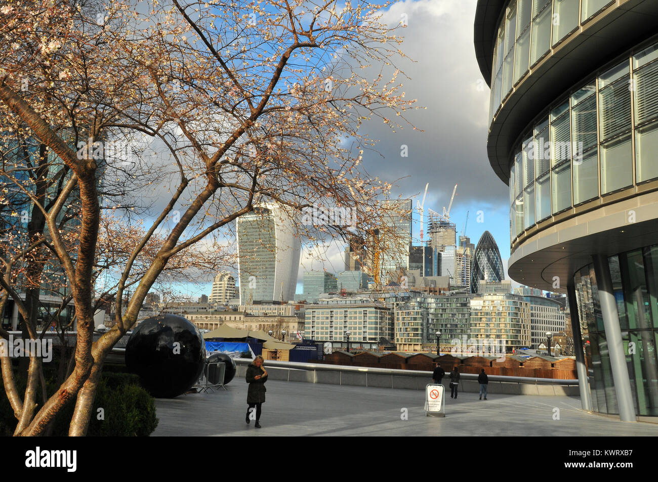 London, UK. 5th January, 2018. Early shows of blossom on the trees next to city hall on the south bank of the river - Stock Image