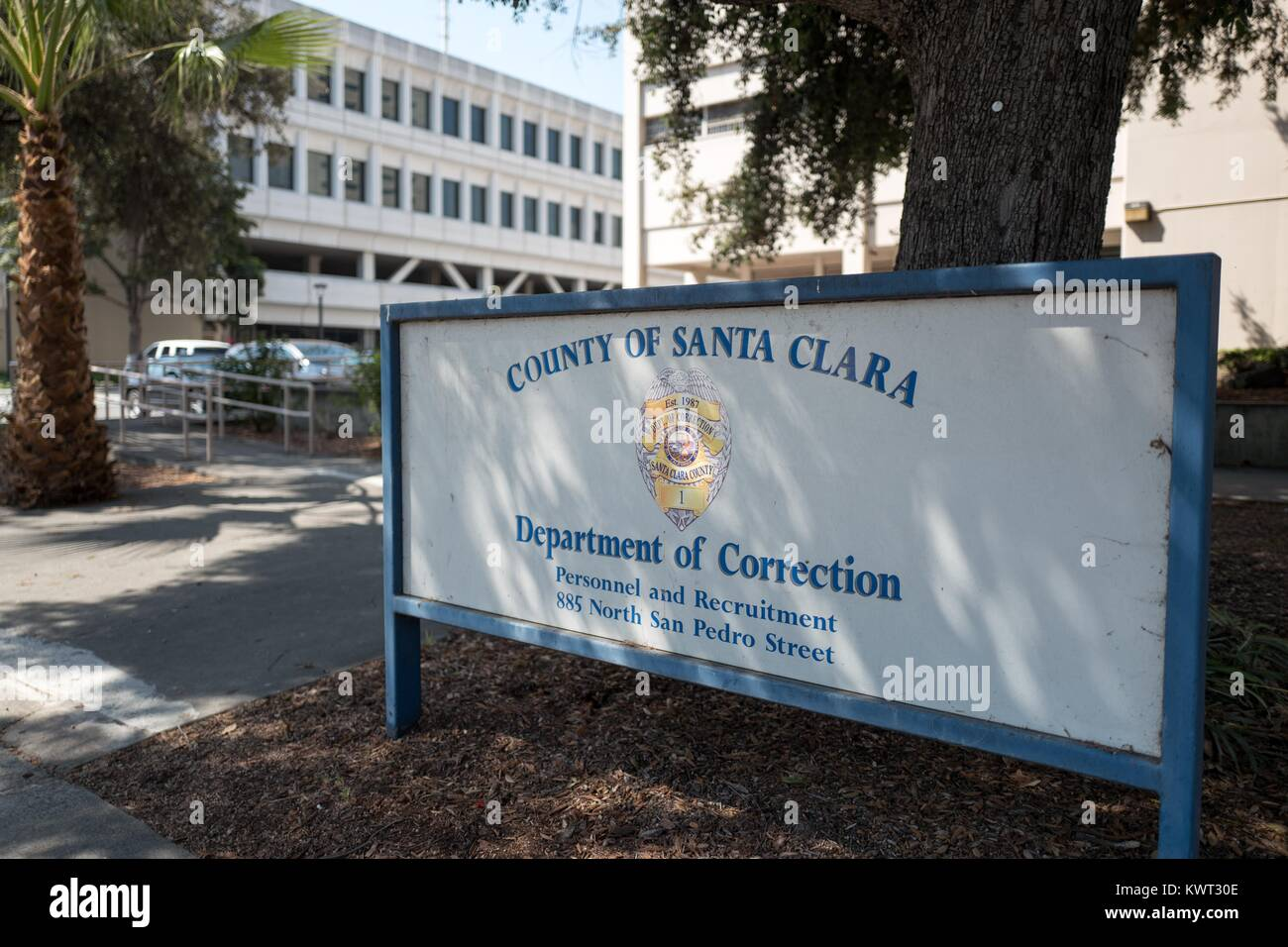 Signage for the Department of Correction for the County of Santa Clara, in the Civic Center neighborhood of San - Stock Image