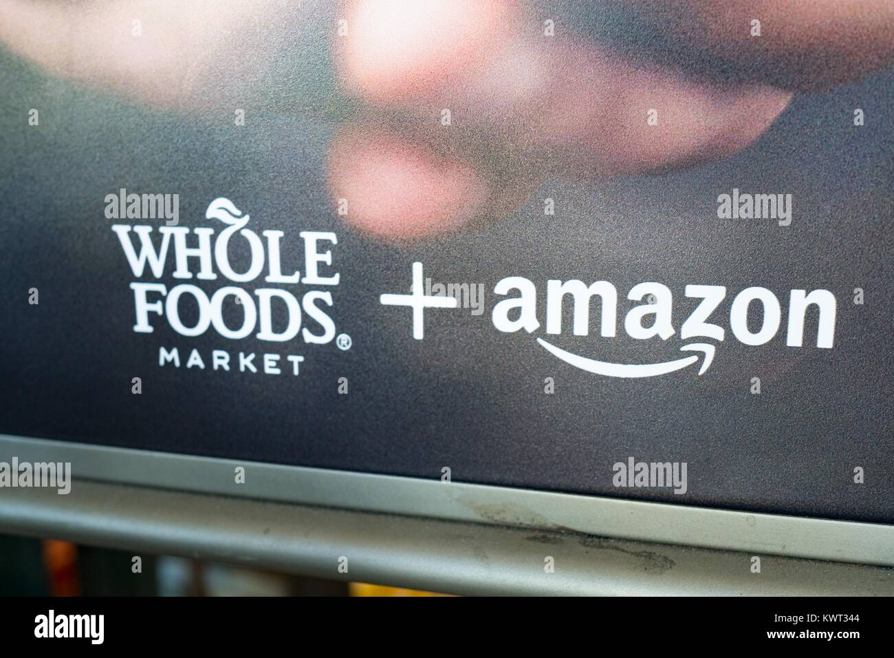 Signage at the Whole Foods Market store in San Ramon, California reading 'Whole Foods Market and Amazon', - Stock Image
