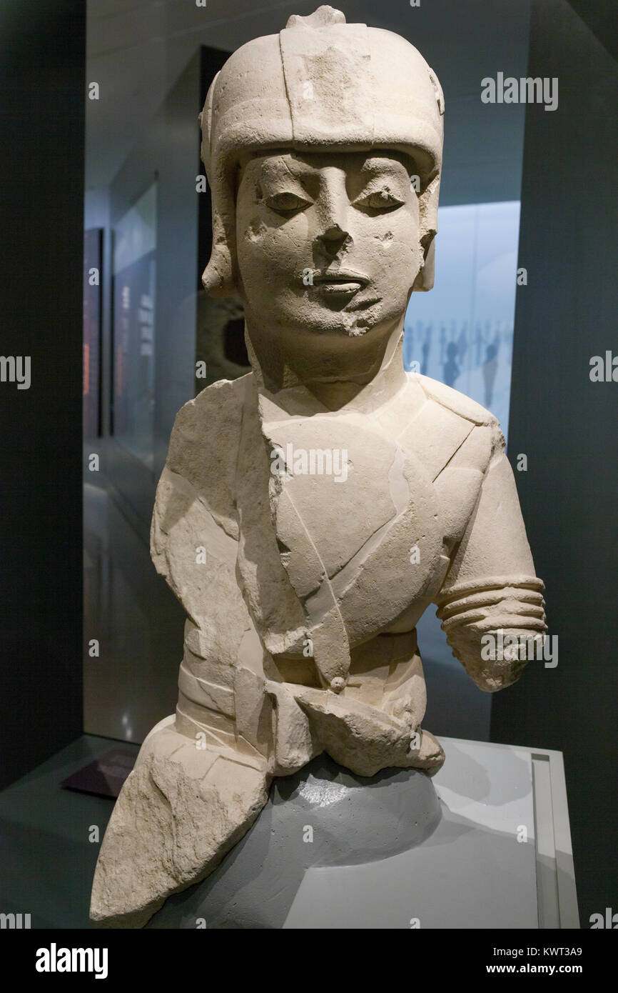 Jaen, Spain - December 29th, 2017: Warrior with double armour at Iberian Museum of Jaen belonging to the Temporary - Stock Image