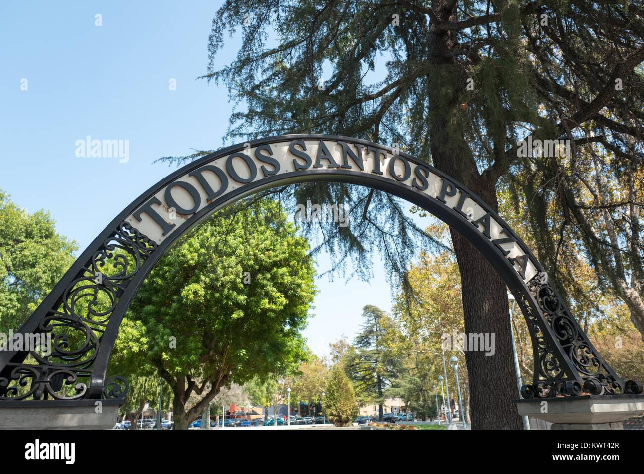 Signage for Todos Santos Plaza, a public park and focal point of the downtown area of Concord, California, September - Stock Image