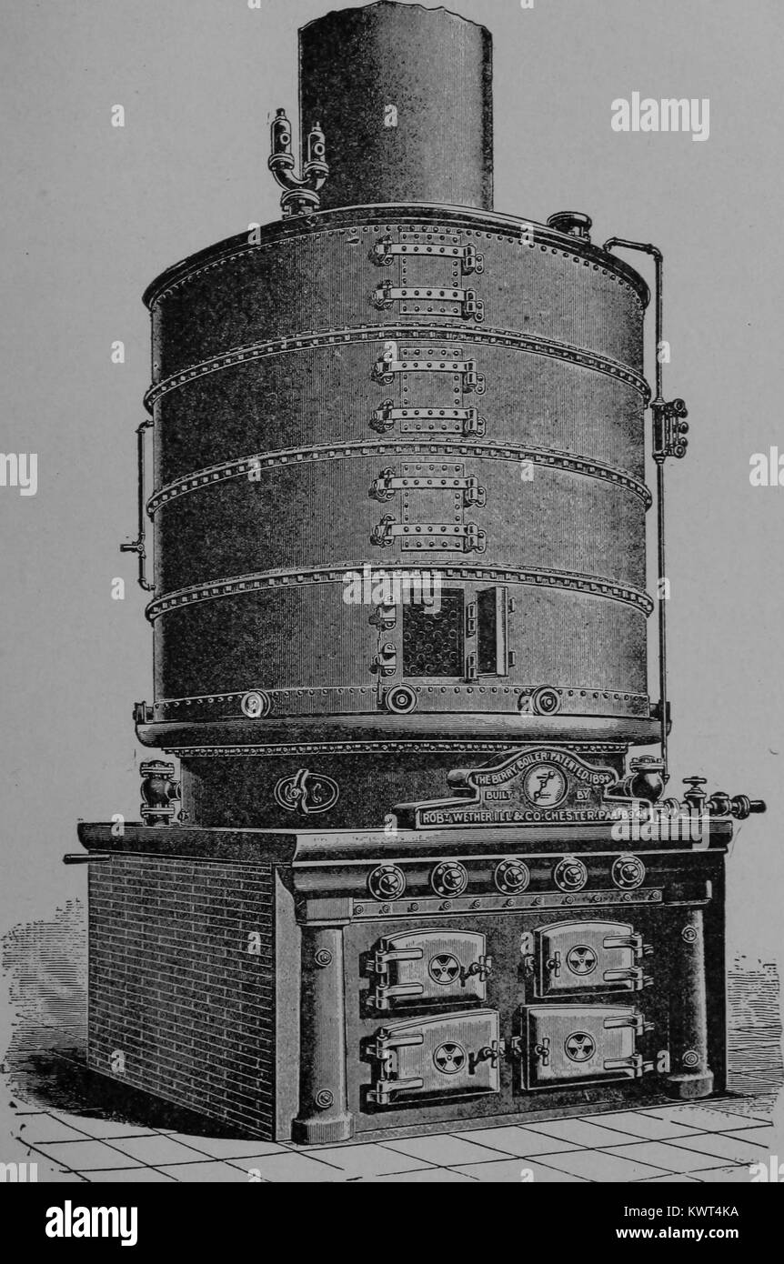 Engraved image, an engineering illustration of an early boiler, used to provide steam power in factories, 1901. - Stock Image