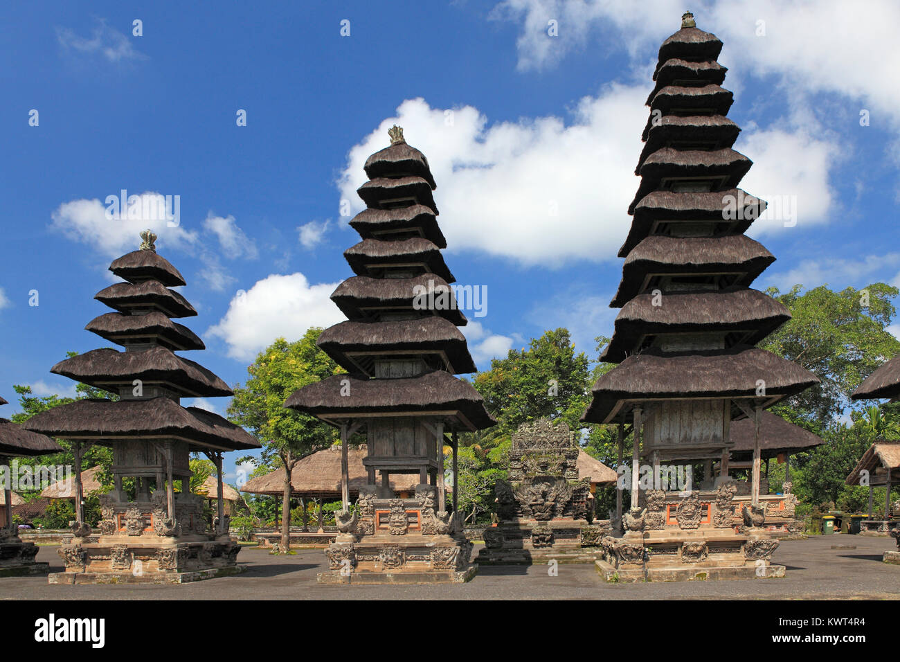 Shrines in the Holy Temple, Utama Mandala, in Pura Taman Ayun, the royal temple at Mengwi, Badung, Bali, Indonesia. - Stock Image