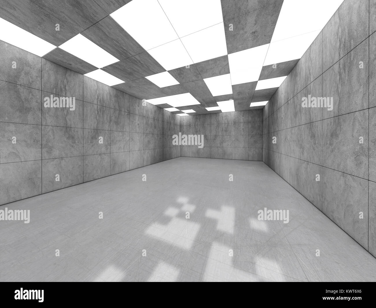 Simple empty room interior with lamps. 3D rendering Stock Photo