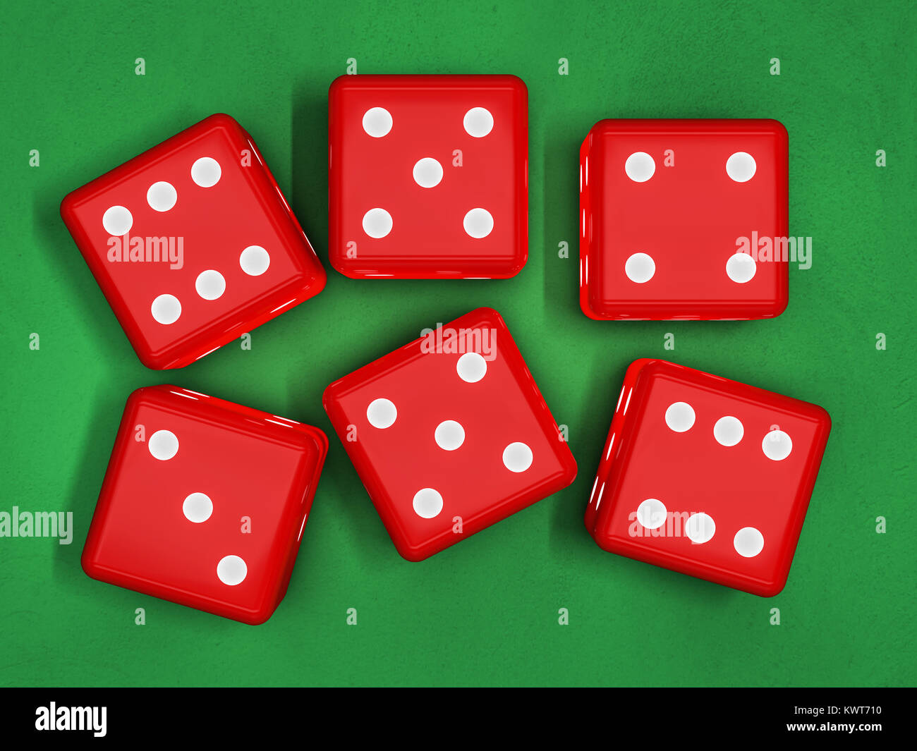 Casino dice on table 3d rendering - Stock Image